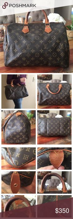 "AUTHENTIC LOUIS VUITTON SPEEDY 30 Authentic Louis Vuitton Speedy 30 Handbag. Vintage bag. So comfortable. Great for traveling. Monogram Canvas has no scratches or tears. Handles show wear, they have scratches and have turned into a deep dark patina but have no cracks. Corners have scuff but no exposed piping 👍🏻(Pic 3) Inside and pocket are clean and zipper works properly. W12.2""xH8.46""xD6.69"" Handles 11.81"" Made in France. Date code VI891 No trades. Louis Vuitton Bags Satchels"