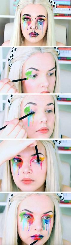 Weddbook is a content discovery engine mostly specialized on wedding concept. You can collect images, videos or articles you discovered organize them, add your own ideas to your collections and share with other people | Weddbook ♥ This is a pop art halloween makeup tutorial. The eye lids are painted in rainbow colors that look like they are melting to the cheeks. The same technique is also used on the lips and the lips and the nose and contoured to complete the pop art look. #popart…