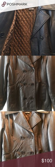 Leather Pea Coat Genuine leather pea coat unisex style. This was bought for me by my husband as a gift. I only wore it once lol, not my style😉 it is beautifully made and Practically new. fits like a large. Black with brown/bronze quilted lining originally 250$ from a leather store a couple years ago. Has been hanging in my closet forever, time for a new home 🏡 💕 Jackets & Coats Pea Coats