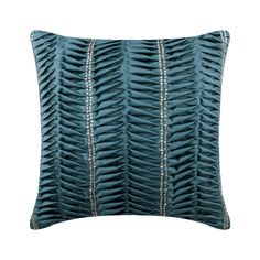 "Decorative Toss Pillow Cover 16"" x 16"", Blue Satin Textured Throws For Sofa Toss Throw Pillow Solid Color Modern Style - Blue Ceremony"