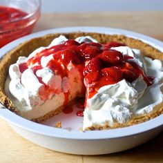 Try this. Ask the person nearest to you if you should make a Strawberry Cheesecake Ice Cream Pie this week. Did they break into a happy dance? If they didn't, well, more for you. Churn-free, egg-free, this is basically every summer dessert worth eating in one place. [Link to Strawberry Cheesecake Ice Cream Pie on smittenkitchen.com in profile]