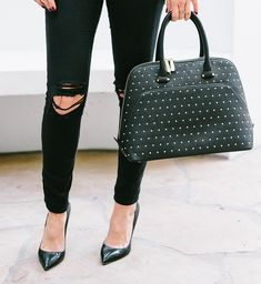 Black studded bag  How To Wear a Turtleneck When You Don't Like Turtlenecks – Sydne Style