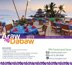 ARAW NG DABAW 2019 Minimum of 2 persons For more inquiries please call: Landlin. Philippine Holidays, Davao, Breakfast Buffet, March 1st, Philippines, Boat, Tours, Dinghy, Breakfast Buffet Table