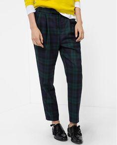 Pantalon en lainage tartan VOSGES - Couleur PINE TREE/NAVY