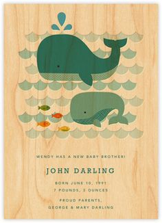 Petit Collage for Paperless Post - Whale Baby Birth Announcement