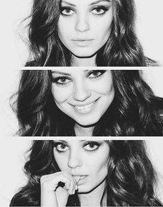 Mila Kunis, beautiful, and black and white Bild #beauty #beautiful #hair #hairstyle #lovely #pretty #makeup #lips #eyes #mila #kunis