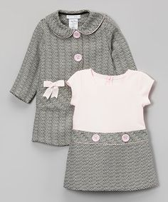 Look what I found on #zulily! Pink & Gray Bow Peacoat & Dress - Infant, Toddler & Girls #zulilyfinds