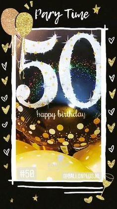 Verras Sarah met ballonnen van Ballonplus.nl wilt u ze met helium... dat kan : bestel ze via de app. Afhaal adres in Nieuwegein, Boeketten.nl Buurtwinkel centrum Galecop Happy 50th Birthday