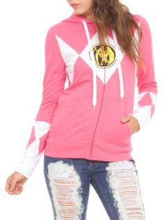 Mighty Morphin Power Rangers Pink Ranger Girls Zip Hoodie