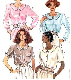 Butterick+3952+Sewing+Pattern+Misses+Loose+Fitting+Blouse+with+Collar+Variations+Size+14+16+18
