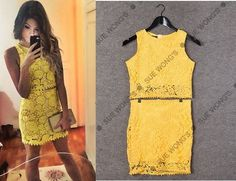 a Casual Suit, Mini Vestidos, Yellow Lace, Lace Flowers, Ideias Fashion, Chiffon, Two Piece Skirt Set, Brand New, Suits
