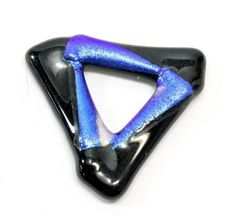 Blue and Black Triangle Dichroic Glass Pendant. Dark Blue Foil Highlights on Black Glass Pendant Triangle Jewelry. Glass Triangle and Black Triangle Dichroic Glass Pendant. Dark Blue Foil Highlights on Black Glass Pendant Triangle Jewelry. Stone Pendants, Glass Pendants, Foil Highlights, Christmas Typography, At Home Hair Color, Christmas Stationery, Dichroic Glass, Black Glass, Bead Art
