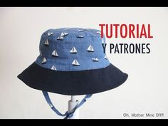 Free bucket hat pattern & video tutorial - Oh, Mother Mine! Baby Patterns, Sewing Patterns, Machine Embroidery Thread, Denim Hat, Hat Tutorial, Baby Sewing Projects, Applique Designs, Baby Hats, Doll Clothes