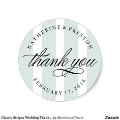 Shop Classic Stripes Wedding Thank You Favor Sticker created by BanterandCharm.