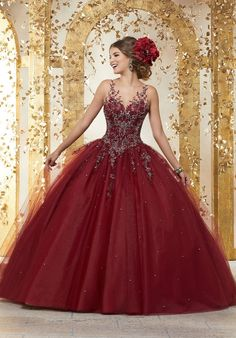 b1a49616f7c Rhinestone and Crystal Beaded Embroidery on a Tulle Ballgown  89223. Red  Quinceanera DressesQuinceanera ...