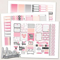 Valentine's day planner stickers for use in Erin Condren vertical planner,PRINTABLE planner stickers,Hello love pink weekly sticker kit,pdf by MeeDigiScrap on Etsy
