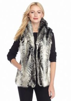 Live a Little  Black and White Faux Fur Vest