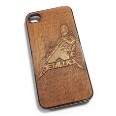 Чехол для iPhone 4 из дерева кусия, ручная работа, Metallica