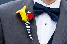 """Gorgeous Yellow + Navy Striped Boutonniere  Nautical Yacht Club """"I dos"""" 