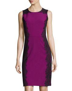 Sleeveless Lace-Detail Sheath Dress, Mulberry/Black by Chetta B at Neiman Marcus Last Call.