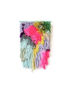 Furry Electric Candy Fields // Handwoven Tapestry Wall hanging Weaving Fiber Textile Wall Art Woven Home Decor Jujujust on Etsy, $280.00