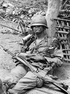 Vietnam War US at Ease Photographic Print by Henri Huet at Art.com