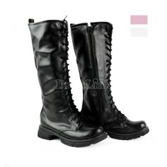 Punk Biker Military Lace UP Flat Martin Knight Boots Shoes #ROMWE