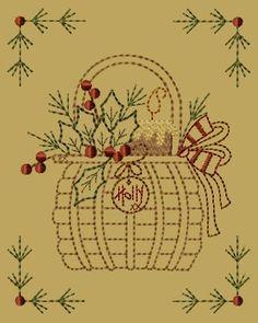 "primitive embroidery patterns | PK067 ""Holly Basket"" Version 2 - 5x7"