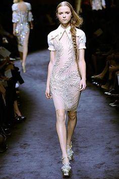 Fergie wearing Miu Miu Crystal-Embroidered Sheer Tulle Dress.