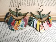 Your place to buy and sell all things handmade Tin Art, Vintage Birds, Charmed, Floral, Earrings, Summer, Etsy, Ear Rings, Stud Earrings