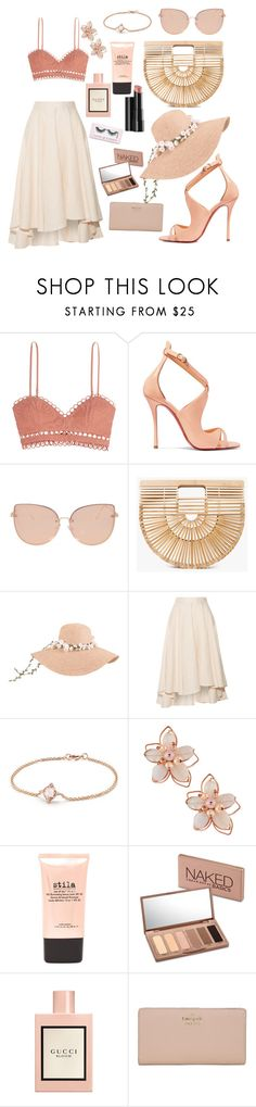 """""""Best dressed guest"""" by lav-en-der-leaves ❤ liked on Polyvore featuring Zimmermann, Christian Louboutin, Topshop, Cult Gaia, Miguelina, David Yurman, NAKAMOL, Arbonne, Stila and Urban Decay"""