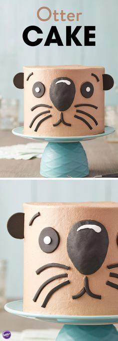 """This Otterly Adorable Otter Cake is ready for some birthday fun! An easy cake to make and decorate, this otter cake is great for beginners and is easy to personalize with a birthday message or an """"I'm Otterly Yours"""" note on top! Use Decorator Preferred fondant to add the otter's features to this cake. With a sweet smiling face, this otter cake is sure to be the life of your party!"""
