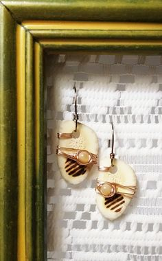 Handcrafted, One Of A Kind, Michigan Deer Antler, Mother Of Pearl, Brass Wire, Drop Earrings by JujusNature on Etsy
