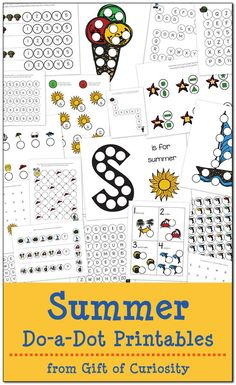 Free Summer Do-a-Dot Printables: 19 pages of summer dot worksheets for kids ages 2-6. Great fun for summer learning! || Gift of Curiosity