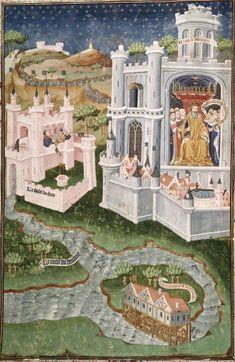 """Re Nectanebo in trono"", miniatura tratta dal 'Talbot Shrewsbury book' (1444-1445), British Library, Londra."