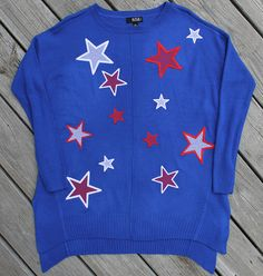Patriotic Embroidered Sweater - Designs from Great Copy Star Spangled Everything! Star Spangled, Sweater Design, Embroidery, Patterns, Stars, Sweaters, Jackets, Fashion, Block Prints