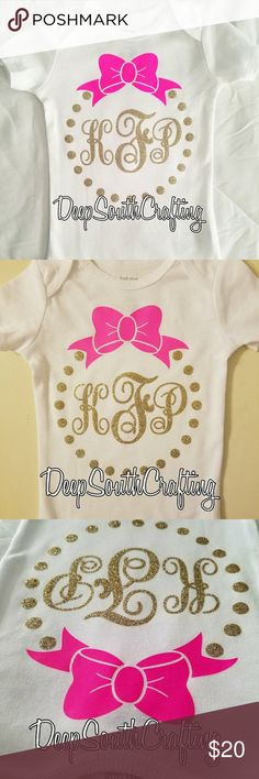 Baby girl onesie pink gold glitter monogram bow Handmade by me. Made as needed. Pink and gold glitter iron on htv. I typically use Carter brand for onesie. Sizes 0-3 months up to 24 months. Non smoke home. Pinterest: Deepsouthcrafting One Pieces Bodysuits