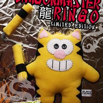 "Modeled after his martial arts hero,  Ringo dresses up in a tight yellow jumpsuit with a matching removable nunchucks.   Handmade by Cheri ""Furry Feline"" Ong herself.    SDCC Exclusive"
