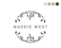 Handdrawn Floral Logo Design. Feminine Logo. Sketch Logo Leaves Logo Foilage Logo Black Logo. Womenswear Logo. Wreath Logo. Doodle Logo