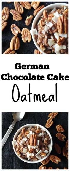 German Chocolate Cake Oatmeal! - Oatmeal  1/2 cup old fashioned oats 1 tbsp cacao powder 1/2 tbsp maple syrup/honey 1 tbsp ground flaxseed 1/4 tsp vanilla extract pinch of salt Glaze  1 tsp coconut oil 1/2 tbsp honey 2 tbsp crushed pecans 1 tbsp unsweetened flaked coconut