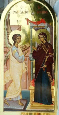 Annunciation - Archangel Gabriel and the Theotokos Religious Images, Religious Icons, Religious Art, Byzantine Icons, Byzantine Art, Holly Pictures, Greek Icons, Archangel Gabriel, Archangel Raphael