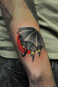 Umbrella and cloud tattoo