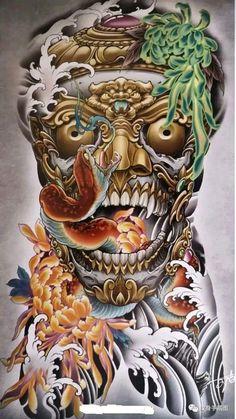 Japanese Warrior, Japanese Art, Illustration, Lion Sculpture, Skull, Statue, Tattoos, China, Tattoo Art