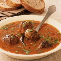 Apounduquerque Ground Beef and Pork Meatball Soup - Smith's Food and Drug Chutney, Czech Recipes, Ethnic Recipes, Beef And Pork Meatballs, Soup Recipes, Cooking Recipes, Meatball Soup, Eat Smarter, Food 52