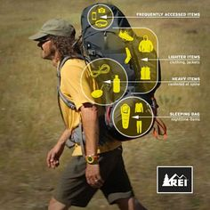 Hiking Discover REI Co-op: Outdoor Clothing Gear and Footwear from Top Brands Heres a pack-loading strategy we recommend for stability and comfort on the trail. Backpacking Tips, Hiking Tips, Hiking Gear, Hiking Backpack, How To Pack Backpack, Bag Pack, Ultralight Backpacking, Hiking Shoes, Thru Hiking