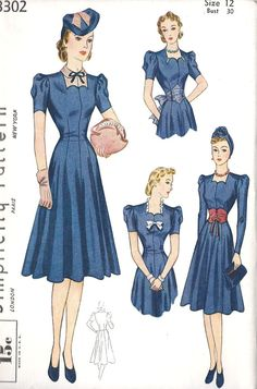 Vintage 1939 Simplicity 3302 Dress Pattern with Accessory Set Size 20 Bust 38 Vintage Dress Patterns, Vintage Dresses, Vintage Outfits, Vintage Clothing, 50s Dresses, Party Dresses, 1930s Fashion, Vintage Fashion, Club Fashion