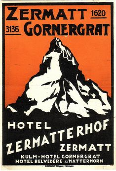 From the collection of Luis Fernandez hotel zermatt switzerland Vintage Hotels, Vintage Ski, Vintage Travel Posters, Vintage Prints, Ski Posters, Poster Ads, Cool Posters, Vintage Graphic Design, Graphic Design Typography