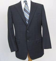 Corneliani Blazer 42R Wool 18,25 Microns Plaid Recent Dual Vent Sport Coat E12 #Corneliani #TwoButton
