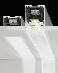 Lighting system in the recessed or suspension/wall/ceiling version made of extruded aluminum colored in white and fasteners and junctions of galvanized..