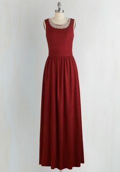 Beyond Compare Dress in Garnet - Red, Solid, Beads, Pearls, Special Occasion, Prom, Homecoming, Maxi, Sleeveless, Woven, Better, Scoop, Bridesmaid, Long, Wedding, Full-Size Run, Valentine's